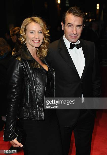 Alexandra Lamy and actor Jean Dujardin attend The Artist premiere during the 55th BFI London Film Festival at the Odeon West End on October 18 2011...