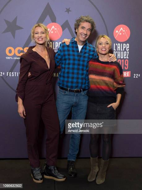 Alexandra Lamy Eric Lavaine and Anne Marivin attend 'Chamboultout' premiere during the 22nd L'Alpe D'Huez International Comedy Film Festival on...
