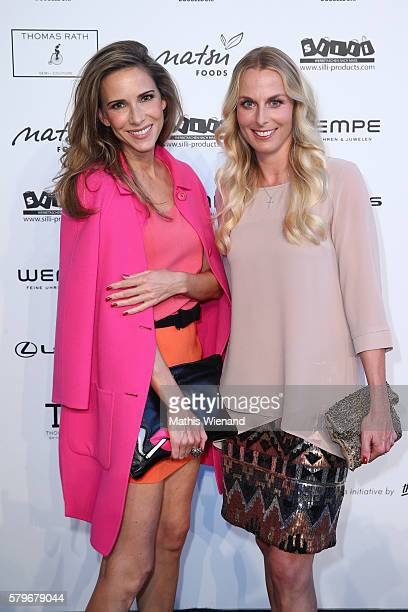 Alexandra Lapp and Angie Herzog attend the Thomas Rath show during Platform Fashion July 2016 at Areal Boehler on July 24 2016 in Duesseldorf Germany