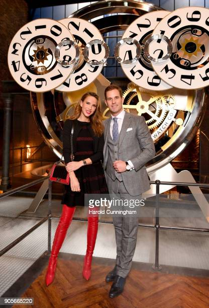 Alexandra Lapp and IWC Schaffhausen CEO Christoph GraingerHerr visit the IWC booth during the Maison's launch of its Jubilee Collection at the Salon...