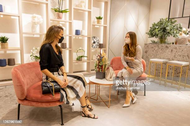 Alexandra Lapp and Lena Terlutter are seen during the Falconeri store opening on July 31, 2020 in Dusseldorf, Germany.
