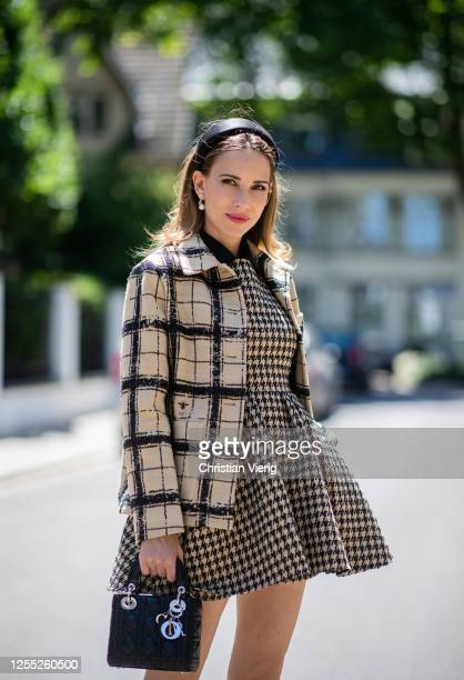 Alexandra Lapp is seen wearing a total look from the Dior 2020 summer collection Lady Dior bag in black on July 09 2020 in Dusseldorf Germany