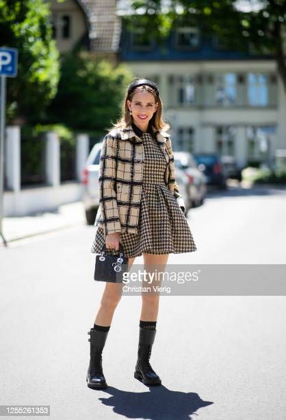 Alexandra Lapp is seen wearing a total look from the Dior 2020 summer collection DTrap Ankle Boots from Dior and Lady Dior bag in black Prada...