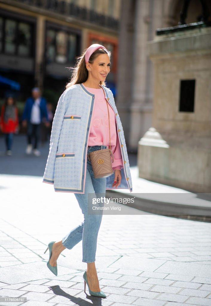 Alexandra Lapp Is Seen Wearing Pink Gucci Tennis Sweater Light Blue News Photo Getty Images