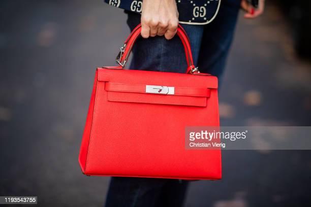 Alexandra Lapp is seen wearing red Hermes Kelly bag on December 11, 2019 in Duesseldorf, Germany.