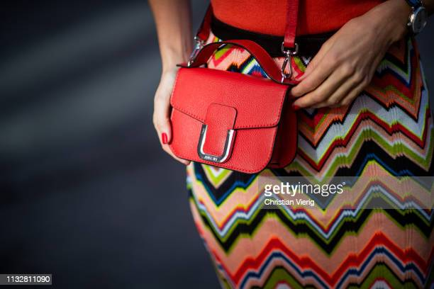 Alexandra Lapp is seen wearing red leather mini bag Marc Cain during Paris Fashion Week Womenswear Fall/Winter 2019/2020 on February 27 2019 in Paris...