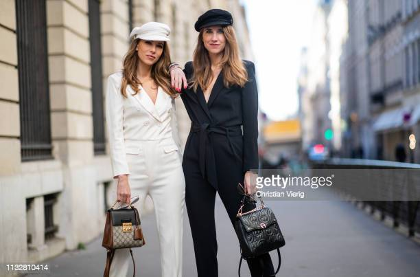Alexandra Lapp is seen wearing the white Celia overall in a smoking optic with a cutout back from bash a white baker boy cap from Chanel Gucci...