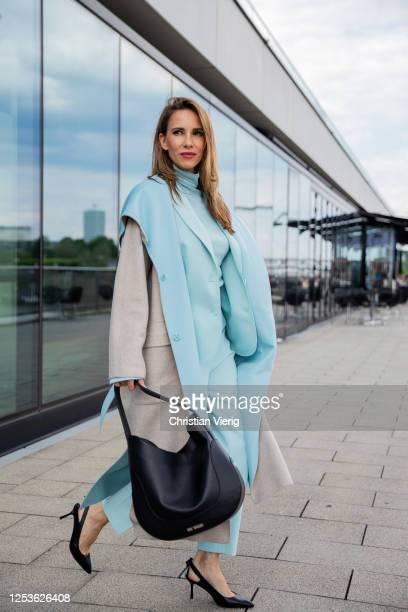 Alexandra Lapp is seen wearing total look Marc Cain on June 25, 2020 in Dusseldorf, Germany.