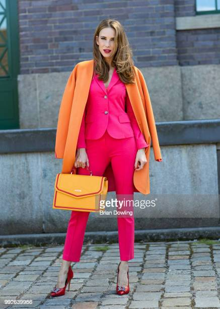 Alexandra Lapp poses during the Marc Cain Street Style shooting at WECC on July 3 2018 in Berlin Germany