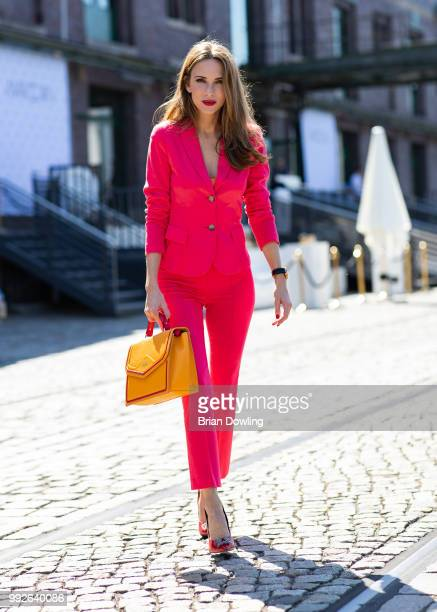 Alexandra Lapp poses during the Marc Cain Street Style shooting at WECC on July 3, 2018 in Berlin, Germany.
