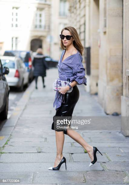 Alexandra Lapp wearing Black Couture Latex Crystal pencil Skirt from Atsuko Kudo Pepita blouse top from Storets with black and white check print...