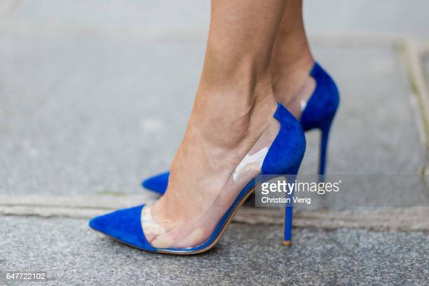 Alexandra Lapp wearing Blue pumps from Gianvito Rossi on March 3 2017 in Paris France