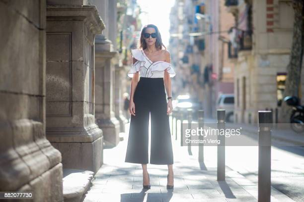 63449055e41 Alexandra Lapp wearing monochrome frill jumpsuit from Self-Portrait ...