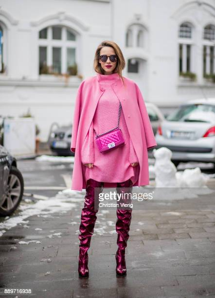 Alexandra Lapp wearing overknee boots in metallic pink from Christian Louboutin metallic pink Boy bag from Chanel pink sunglasses from Le Specs light...