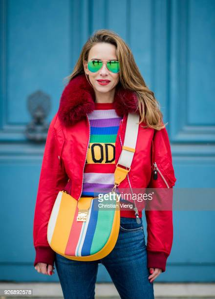 00b348ebf3 Alexandra Lapp wearing Pullover Alberta Ferretti with today print AG Jeans  denim Bag MCM Patricia Hobo