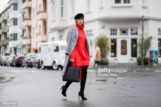 Alexandra Lapp wearing red turtleneck dress from HM overknee boots in black from Gianvito Rossi checked coat from SET fashion velvet baker boy cap...