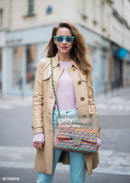 Alexandra Lapp wearing skinny Levis 501 in mint a pastel pink cashmere pullover from Jadicted dusty blue lacquer pumps by Christian Louboutin a...