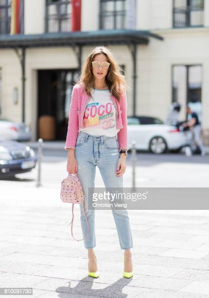 Alexandra Lapp wearing Stark backpack in pink from MCM, Visetos-print coated canvas including a dedicated sleeve for mobile devices, a high waist,...