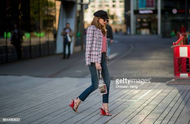Alexandra Lapp wearing striped Saint Laurent Logo jersey TShirt in redwhite a white blue red Tweed Jacket by Balmain dark blue Levis Super Skinny...
