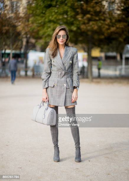 Alexandra Lapp wearing the Essential Boston Bag with Monogramm in grey by MCM plaid blazer dress with a waist belt from Zara silver mirrored...