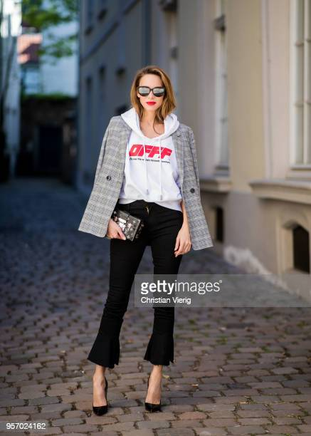 Alexandra Lapp wearing the Off White co Virgil Abloh 0777 cotton Terry Hoodie in white multicolored plaid Madeleine blazer by Anine Bing the Cha Cha...