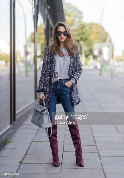 Alexandra Lapp wearing Vintage sweater from Chanel, overknee boots in burgundy from Zara, oversized, long tweed jacket with pearls from Zara, high...