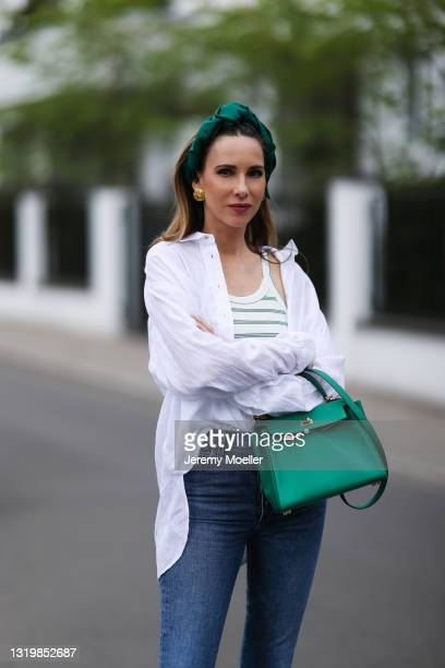 Alexandra Lapp wearing white Pancaldi & B for Tandem linen blouse, green and white striped Zara top, blue Citizens of Humanity jeans and green Hermès...