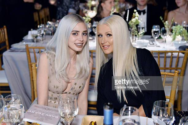Alexandra Lenas and recording artist Christina Aguilera attend the Fifth Annual Baby2Baby Gala Presented By John Paul Mitchell Systems at 3LABS on...