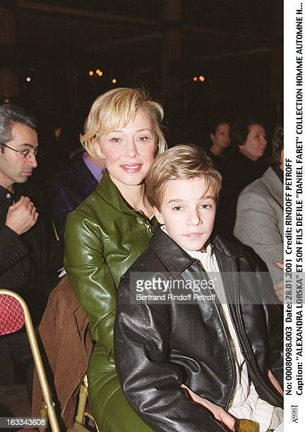 Alexandra Lorska with her child at theDaniel Faret Catwalk Show Menswear Autumn Winter 2001/2002 In Paris