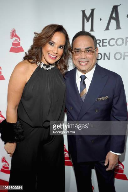Alexandra Malagon and Gilberto Santa Rosa attend the Person of the Year Gala honoring Mana during the 19th annual Latin GRAMMY Awards at the Mandalay...