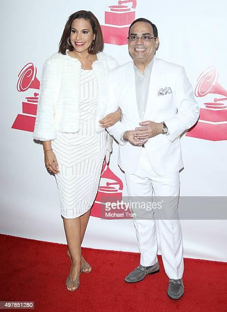Alexandra Malagon and recording artist Gilberto Santa Rosa arrive at the 2015 Person of the Year honoring Roberto Carlos held at the Mandalay Bay...
