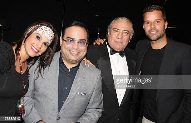 Alexandra Malagon husband Gilberto Santa Rosa Luis Bravo and Ricky Martin pose backstage at the Argentinian dance sensation Forever Tango on Broadway...
