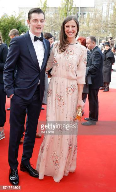 Alexandra Maria Lara and her husband Sam Riley during the Lola German Film Award red carpet arrivals at Messe Berlin on April 28 2017 in Berlin...