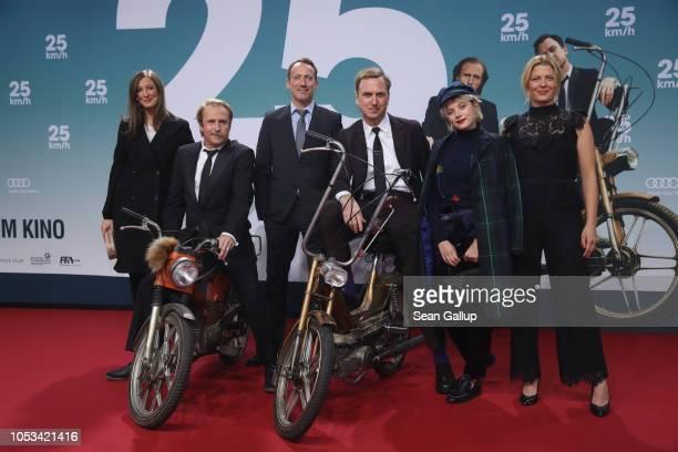 Alexandra Maria Lara Bjarne Mädel Wotan Wilke Möhring Lars Eidinger Jella Haase and Jördis Triebel attend the '25 km/h' movie premiere at CineStar on...