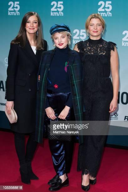 Alexandra Maria Lara, Jella Haase and Joerdis Triebel attend the '25 km/h' movie premiere at CineStar on October 25, 2018 in Berlin, Germany.