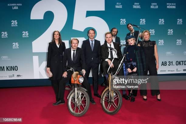 Alexandra Maria Lara Jella Haase Jšrdis Triebel Wotan Wilke Mšhring Lars Eidinger and Bjarne MŠdel attend the '25 km/h' movie premiere at CineStar on...