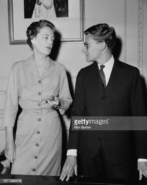 Alexandra Mary Cadogan Duchess of Marlborough with French fashion designer Yves Saint Laurent following a press conference at the British Red Cross...