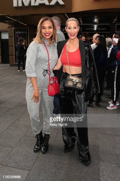 Alexandra Maurer and Laura Pradelska seen attending Godzilla: King of Monsters - UK film premiere at Cineworld Leicester Square on May 28, 2019 in...