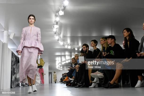 Alexandra Micu walks the runway during the Loewe show as part of the Paris Fashion Week Womenswear Spring/Summer 2018 on September 29 2017 in Paris...