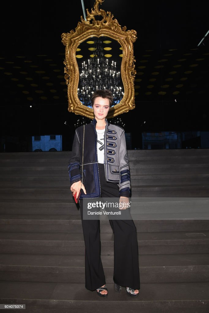 Alexandra Moncreiffe attends the Dolce & Gabbana show during Milan Fashion Week Fall/Winter 2018/19 on February 25, 2018 in Milan, Italy.