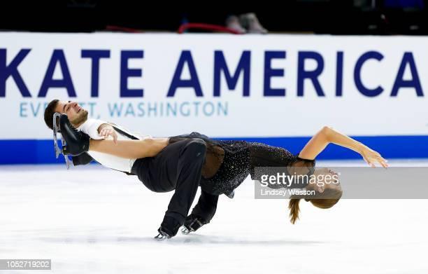 Alexandra Nazarova and Maxim Nikitin of Ukraine compete during Free Dance on day three of the 2018 ISU Grand Prix of Figure Skating Skate America at...