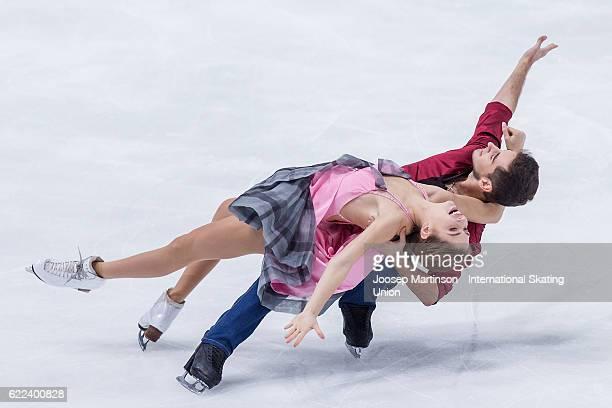 Alexandra Nazarova and Maxim Nikitin of Ukraine compete during Ice Dance Short Dance on day one of the Trophee de France ISU Grand Prix of Figure...