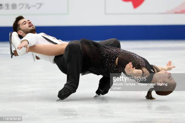 Alexandra Nazarova and Maxim Nikitin of Ukraine compete in the Ice Dance Free Dance on day four of the 2019 ISU World Figure Skating Championships at...