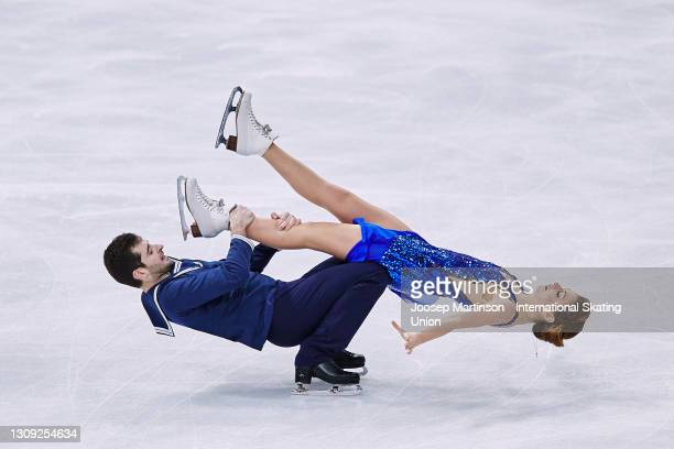 Alexandra Nazarova and Maxim Nikitin of Ukraine compete in the Ice Dance Rhythm Dance during day three of the ISU World Figure Skating Championships...