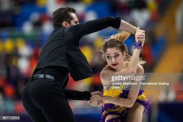 Alexandra Nazarova and Maxim Nikitin of Ukraine compete in the Ice Dance Short Dance during day three of the European Figure Skating Championships at...
