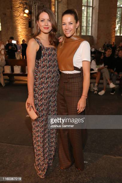 Alexandra Neldel and Alice Dwyer attend the Nobi Talai fashion show during the Berlin Fashion Week Spring/Summer 2020 at Parochialkirche on July 04,...