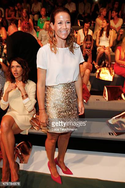 Alexandra Neldel attends the Marc Cain show during the Mercedes-Benz Fashion Week Berlin Spring/Summer 2016 at Brandenburg Gate on July 7, 2015 in...