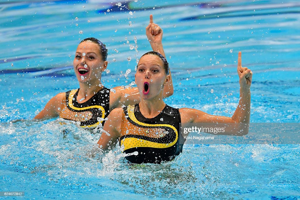 Alexandra Nemich and Yekterina Nemich of Kazakhstan competes in Synchronized Swimming Duet technikal routine final during the 10th Asian Swimming Championships 2016 at the Tokyo Tatsumi International Swimming Center/Tokyo Metropolitan Swimming Pool on November 18, 2016 in Tokyo, Japan.