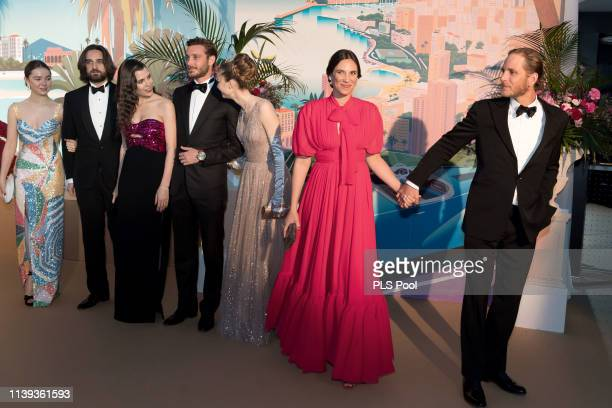 Alexandra of Hanover Dimitri Rassam Charlotte Casiraghi Pierre Casiraghi Beatrice Borromeo Tatiana Casiraghi and Andrea Casiraghi attend the Rose...
