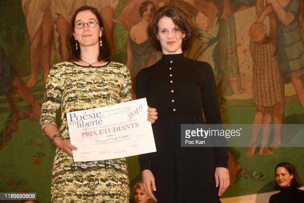 Alexandra Oppo awards a Poseie En Liberté competitor during Poesie En Liberté 2019 Awards Ceremony At Mairie Du 5eme on November 23 2019 in Paris...